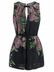 Sleeveless Cut Out Floral Print Romper