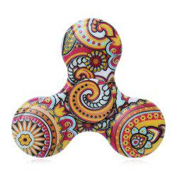 Fiddle Toy Plastic Tri-bar Mandala Patterned Fidget Spinner - Jaune