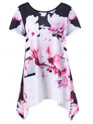 Floral Asymmetrical Plus Size Top - COLORMIX XL