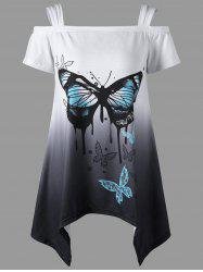 Asymmetrical Butterfly Print Cold Shoulder Top - COLORMIX