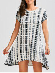 Short Sleeve A Line Tie Dye Dress