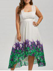 Plus Size Beach Printed Chiffon Long Flowy Dress - WHITE