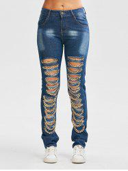 Chain Design Distressed Jeans with Pockets