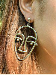 Funny Metal Face Drop Earrings - GOLDEN