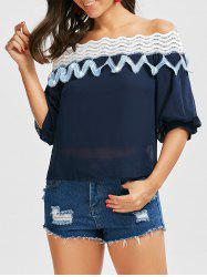 Off The Shoulder Lace Insert Zigzag Blouse