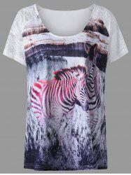 Plus Size Lace Insert Zebra Pattern T-shirt -