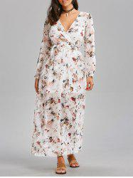 High Waist Chiffon Floral Maxi Dress