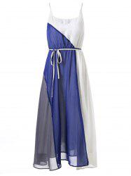 Tie Belt Knee Length Flowy Slip Dress