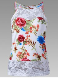 Sheer Lace Trim Floral Tank Top -