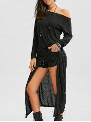 Long Sleeve Off The Shoulder High Low Maxi T-shirt Dress - BLACK