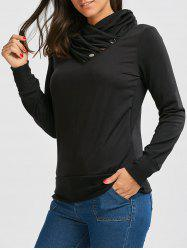Buttoned Turtleneck Sweatshirt - BLACK