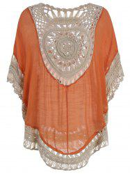 Chiffon Insert Crochet Cover Up Tunic Top