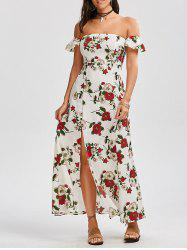High Split Floral Off The Shoulder Maxi Dress - WHITE