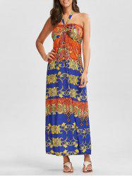 Tribal Print Halter Maxi Dress - COLORMIX