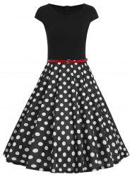 Polka Dot Fit et Flare Dress - Noir
