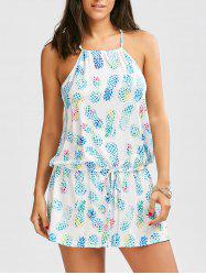 Pineapple Printed Drawstring Cami Dress