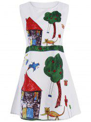 Cartoon Print Trapeze Mini Dress - WHITE