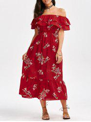 Off Shoulder Floral Flounce Tea Length Dress - RED