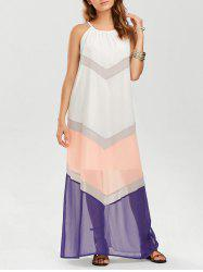Color Block Chiffon Chevron Maxi Dress