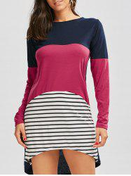 Long Sleeve Color Block Striped Casual Tee Dress