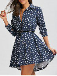 Polka Dot Star Print Dovetail Mini Dress - DEEP BLUE XL