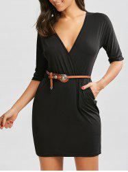 Pocketed Mini Surplice Dress - BLACK