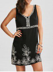 Embroidered V Neck Dress