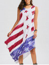 American Flag Patriotic Casual Tank Flowy Dress