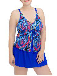 Plus Size Tropical Printed Modest Padded One Piece Swimsuit
