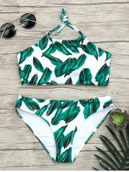 Tropical Halter Leaves Print Bikini Set