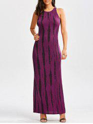 Tie Dye Cut Out Long Racerback Maxi Dress