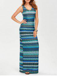 U Neck Sleeveless Maxi Evening Dress - COLORMIX