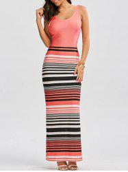 Stripe Criss Cross Long Fitted Beach Dress - PAPAYA