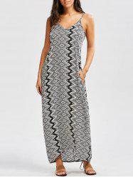 Baggy Geometric Print Maxi Slip Dress - BLACK