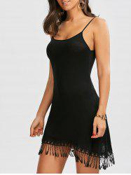 Fringe Spaghetti Strap Summer Mini Dress - BLACK