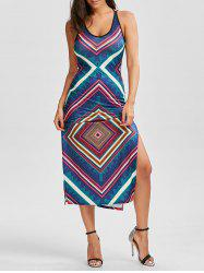 Caged Side Slit Geometric Print Dress
