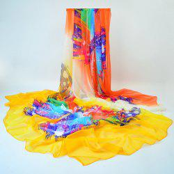 Color Blocking Impressionistic Gossamer Shawl Wrap Scarf