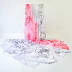 Rose Pattern Two Tone Gossamer Shawl Scarf