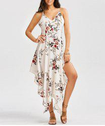 Floral Print Asymmetrical Criss Cross Dress - WHITE