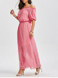 High Waist Chiffon Off The Shoulder Maxi Dress - PINK