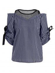 Mesh Insert Plaid Cold Shoulder Top