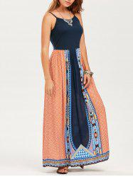 Ethnic Print Spaghetti Straps Maxi Dress
