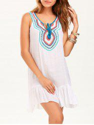 Crochet Collar Sleeveless Drop Waist Tunic Dress