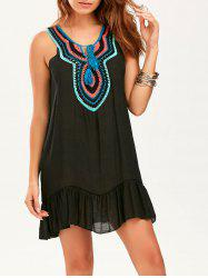 Crochet Collar Sleeveless Drop Waist Tunic Dress - BLACK