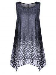 Plus Size Polka Dot Long Chiffon Asymmetric Tank Top