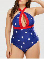Plus Size Plunge Stars American Flag One Piece Patriotic Swimwear
