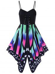 High Waist Butterfly Print Lace Up Dress - COLORMIX