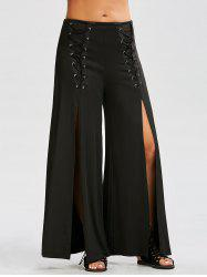 High Slit Lace Up Wide Leg Pants - BLACK