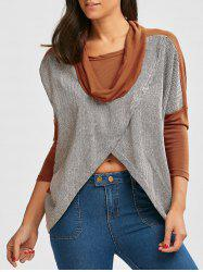 Paneled Batwing Sleeve Cowl Neck Top -
