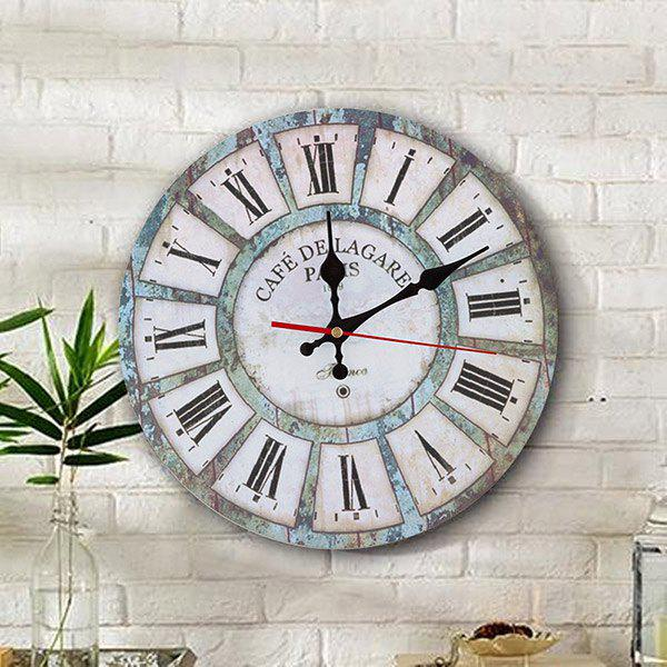 Vintage Wood Analog Round Living Room Wall ClockHOME<br><br>Size: 30*30CM; Color: WHITE; Clock Type: Wall Clocks; Time Display: Analog; Style: Europe; Theme: Houses; Material: Wood; Weight: 0.3844kg; Package Contents: 1 x Clock;